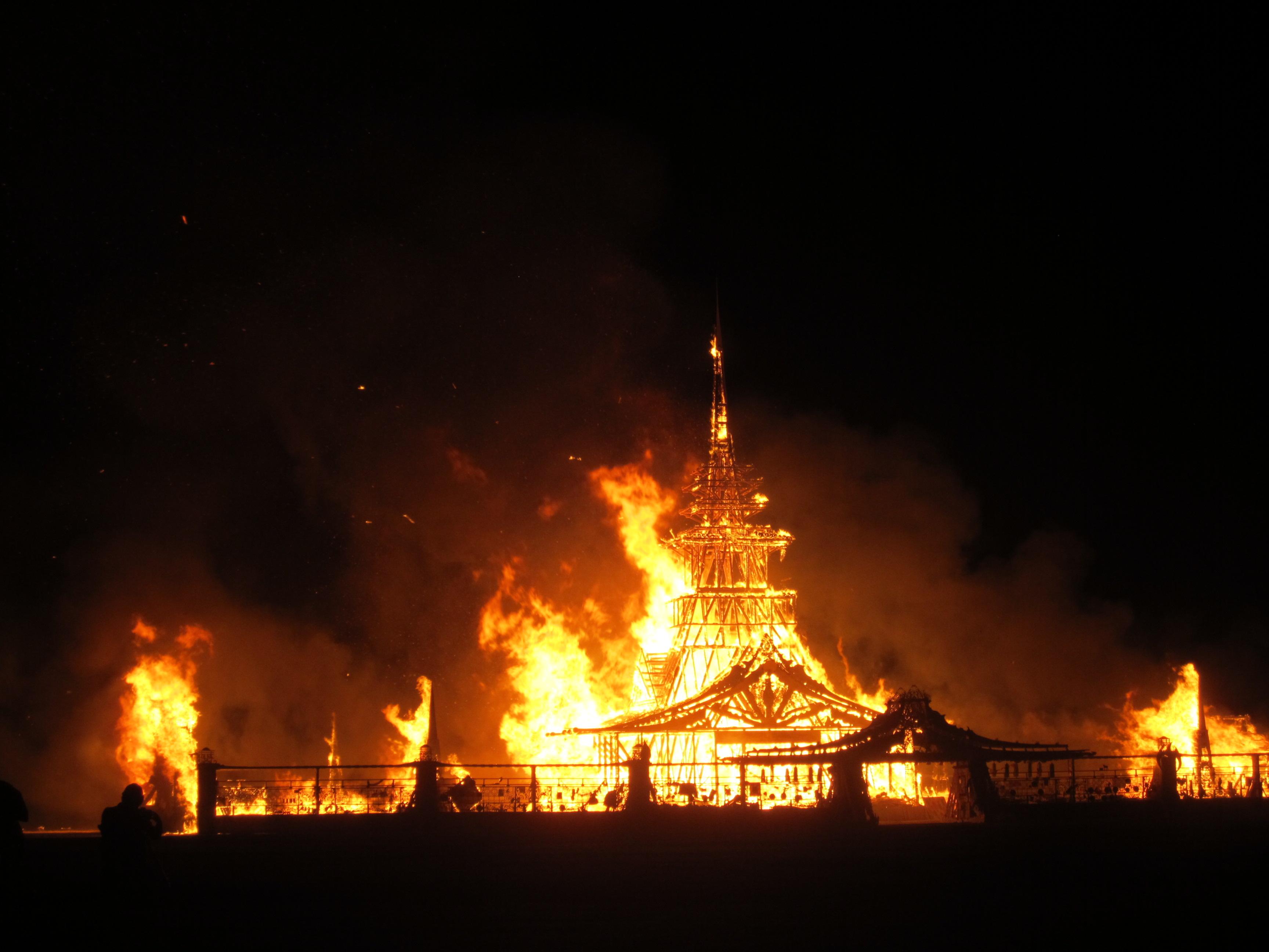 Burning the temple at Burning Man