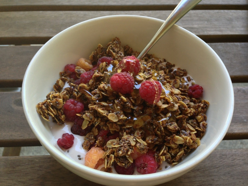 Homemade Granola With Rainbow Raspberries